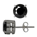 8MM Black CZ Round Shape 925 Sterl...