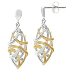 White Diamond 2-Tone Gold Plated 925 Sterling Silver Weave Post Earrings