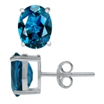 4.46ct. Natural London Blue Topaz 925 Sterling Silver Stud Earrings