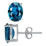 4.46ct. Natural London Blue Topaz 925 Sterling Silver Stud Earrings