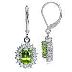 2.74ct. Natural Peridot & White Topaz 925 Sterling Silver Cluster Leverback Earrings