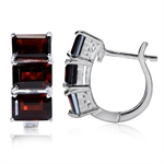 4.8ct. 3-Stone Natural Garnet 925 Sterling Silver Huggie Earrings