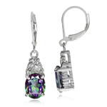 6.38ct. Mystic Fire Topaz White Gold Plated 925 Sterling Silver E...