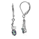 1.04ct. Mystic & White Topaz 925 Sterling Silver Leverback Earrings
