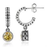 Natural Citrine 925 Sterling Silver Leaf C-Hoop Flower Dangle Earrings