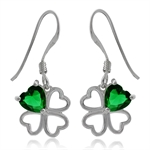Heart Shape Emerald Green CZ 925 Sterling Silver Four-Leaf Clover Dangle Earrings