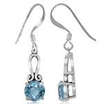 2.02ct. Natural Blue Topaz 925 Sterling Silver Dangle Earrings