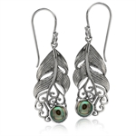 Abalone/Paua Shell 925 Sterling Silver Feather Victorian Style Dangle Earrings