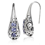 3-Stone Genuine Tanzanite 925 Sterling Silver Victorian Style Hook Earrings