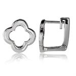 12MM 925 Sterling Silver Flower Huggie Earrings
