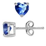 Heart Shape Tanzanite CZ 925 Sterling Silver Stud Earrings