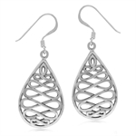 925 Sterling Silver Infinity Inspired Filigree w/Antique Finish Dangle Earrings