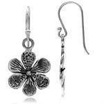925 Sterling Silver Flower Dangle Hook Antique Finish Casual Earrings