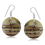 Circle Disc Mother Of Pearl 925 Sterling Silver Dangle Hook Earrings