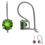 Synthetic Color Change Diaspore White Gold Plated 925 Sterling Silver Hook Earrings