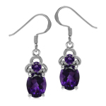 3.5 Ctw Oval 9*7 mm Genuine Dark Purple African Amethyst 925 Sterling Silver Dangle Earrings