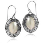 Natural White Mabe Pearl 925 Sterling Silver Balinese Dangle Earrings