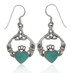 Green Turquoise 925 Sterling Silver Triquetra Celtic Knot Claddagh Earrings