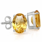 2.2ct. Natural Citrine 925 Sterling Silver Stud Earrings