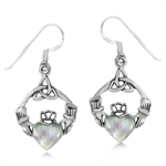 White Mother of Pearl (MOP) 925 Sterling Silver Triquetra Celtic Knot Claddagh Dangle Earrings