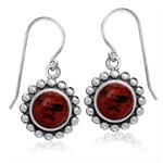 8MM Cherry Amber 925 Sterling Silver Balinese Dangle Hook Earrings