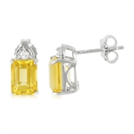 Natural 3 CTW CITRINE & SAPPHIRE White Gold Plated 925 Sterling S...