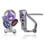 Natural Amethyst, Iolite, Rhodolite Garnet & Tanzanite 925 Sterling Silver Omega Clip Earrings