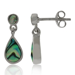 Abalone/Paua Shell Inlay 925 Sterling Silver Drop Dangle Post Earrings