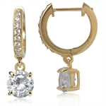 White CZ 14K Gold Plated 925 Sterling Silver Huggie/Hoop Dangle Earrings