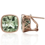 12.94ct. Natural Green Amethyst Rose Gold Plated 925 Sterling Silver Omega Post Earrings