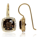 4ct. Natural Smoky Quartz & White Topaz 14K Gold Plated 925 Sterling Silver Hook Earrings