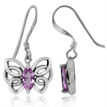 Natural Pink Sapphire 925 Sterling Silver Butterfly Dangle Earrings