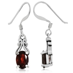 1.88ct. Natural Garnet 925 Sterling Silver Victorian Style Dangle Earrings