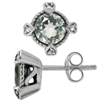 2.52ct. Natural Green Amethyst & White Topaz 925 Sterling Silver Stud/Post Earrings