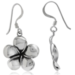 925 Sterling Silver Plumeria Flower Dangle Earrings