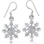 925 Sterling Silver Snowflake Dangle Earrings