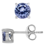 925 Sterling Silver Genuine 1 CTW Round 5MM Tanzanite Stud Earrings