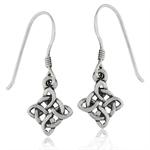 925 Sterling Silver Celtic Knot Dangle Earrings