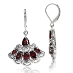 6.24ct. Natural Garnet 925 Sterling Silver Victorian Style Leverback Earrings