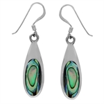 925 Sterling Silver Abalone/Paua Shell Inlay Drop Shape Dangle Earrings