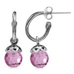 Pink Faceted CZ Sphere Ball 925 Sterling Silver Dangle Drop Hoop Earrings