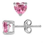 Heart Shape Pink CZ 925 Sterling Silver Stud Earrings