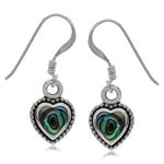 Heart Shape Abalone/Paua Shell Inlay 925 Sterling Silver Balinese Drop Dangle Earrings