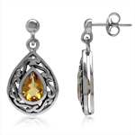 1.26ct. 7x5MM Natural Pear Shape Citrine 925 Sterling Silver Filigree Drop Dangle Post Earrings