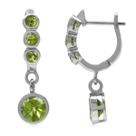 2.56ct. Natural Round Shape Peridot White Gold Plated 925 Sterling Silver English Hook Earrings