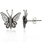 HANDMADE 925 Sterling Silver Butterfly Filigree Post Earrings