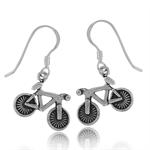 925 Sterling Silver BIKE/BICYCLE Dangle Earrings