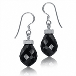 Black CZ Briolette Sterling Silver Earrings