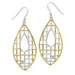 White Diamond 2-Tone Gold Plated 925 Sterling Silver Weave Drop Dangle Earrings