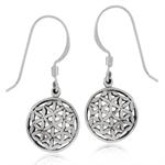 925 Sterling Silver FLOWER of LIFE Filigree Circle Dangle Hook Earrings